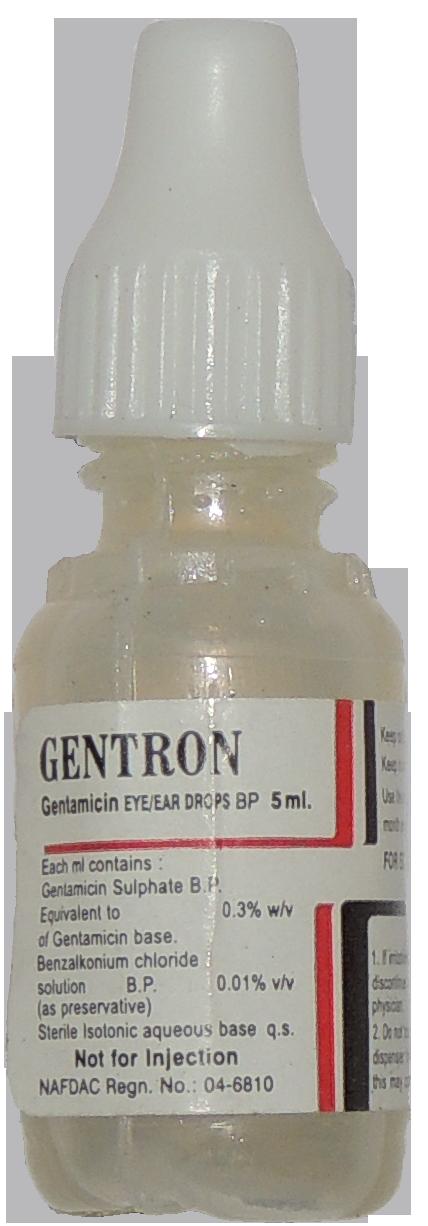 Gentron ear and eye drops bottle